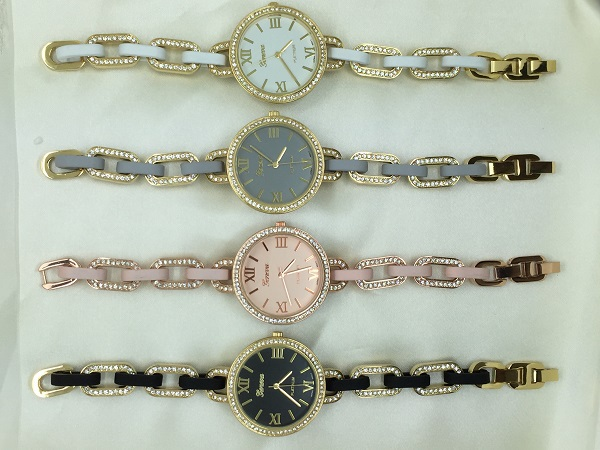 İnce Yeni Moda Rhinestones Bilezik İzle Cenevre Romen Rakamları - Kadın Saatler - Fotoğraf 3