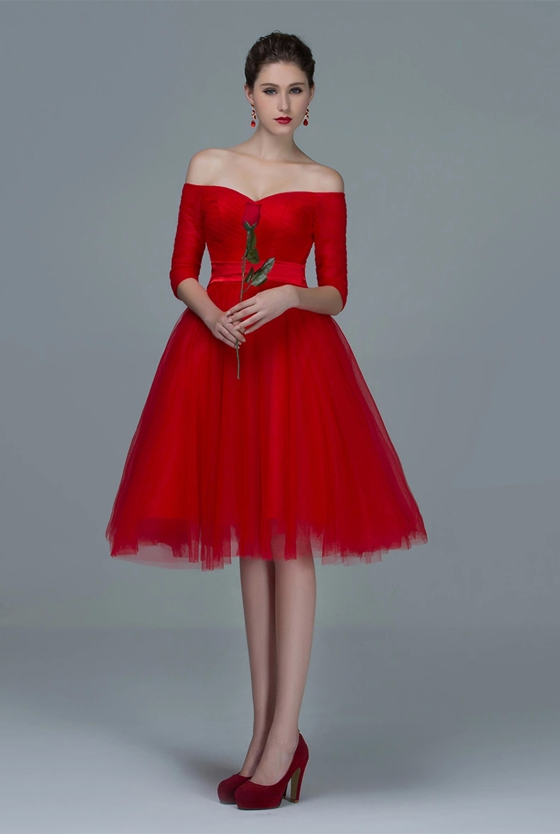 6f18f5ea641 Red Tulle Short Homecoming Dress with Sleeves Off Shoulder Knee Length  Simple Sweet 16 Dresses Prom-in Homecoming Dresses from Weddings   Events  on ...