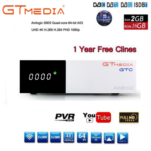 US $59 99 |Gtmedia GTC Android 6 0 Satellite receiver Smart TV BOX Ship  from uk 2GB 16GB support IPTV DVB S2/T2/C/ISDBT H 265 4k-in Satellite TV