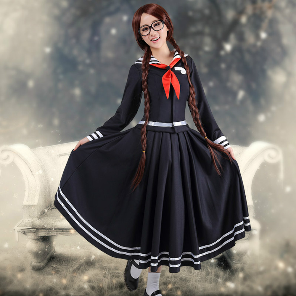 Anime Danganronpa Kusakawa Fuyuko cosplay Costume for girls School uniforms navy dress Sailor Moon Costumes