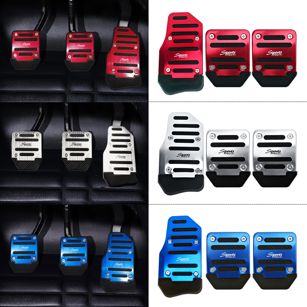 3pcs 3 Color Universal Car Styling Aluminum Non-Slip Manual Pedal Cover Set Kit Pedali Foot Treadle Non-slip