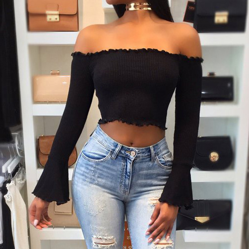 38664ad618132b Autumn Women Off Shoulder Crop Top Solid Slim Sweater Sexy Flare Sleeve  Pullover Female Short Knitted Sweater Pull Femme WS2908T-in Pullovers from  Women s ...