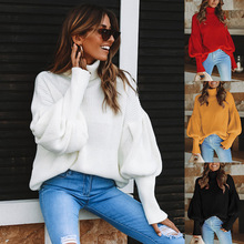 2019 Autumn Winter Warm women's Sweater Solid color Knitted Pullover Long Sleeve Sweater Turtleneck Mesh Femme Sweater Plus Size