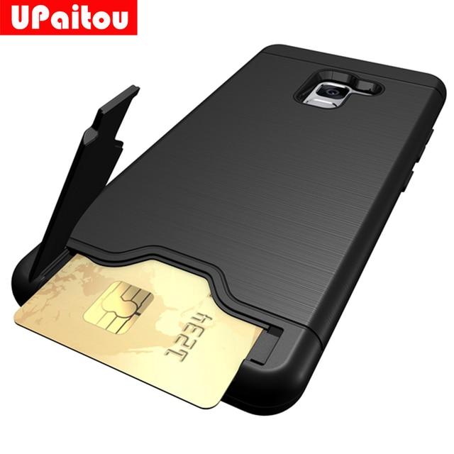 new concept 5708d e3a34 US $3.69 20% OFF|UPaitou Hybrid Tough Case For Samsung Galaxy A8 Plus 2018  Case Slider Card Holder Wallet Cover for Samsung Galaxy A8 + 2018-in Fitted  ...