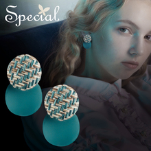 Special, European and American s925 silver-pin earrings, ear decoration female charming abies blue