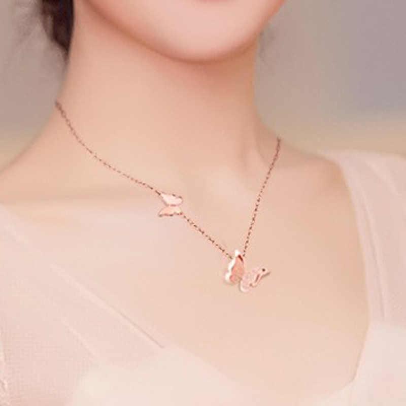 Collares de mariposa doble mate Hfarich para mujer joyería de mariposa de acero inoxidable collares de gargantilla de moda collares Coller regalo