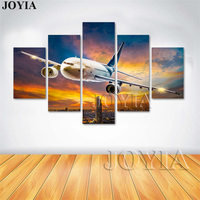 5 Piece Canvas Art Airplane Wall Painting Home Decor Modern Planes Night Airport Paintings For Room