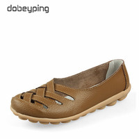 New Women's Casual Shoes Genuine Leather Woman Loafers Slip On Female Flats Leisure Ladies Driving Shoe Solid Mother Boat Shoes 2