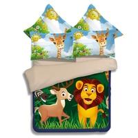 Cartoon animal zoo 3D 3/4pcs deer/lion/leopard/gorilla Bedding Set Twin Full Queen Size Duvet Cover Bed Linen Free Shipping