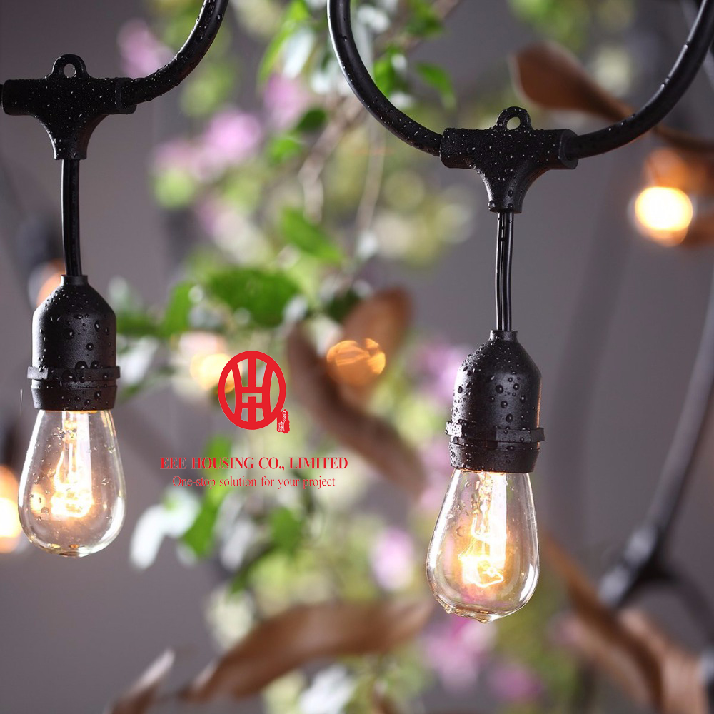Waterproof Heavy Duty 15M Outdoor S14 Bulb String Lights Connectable Festoon For Party Garden Christmas Holiday Garland Cafe