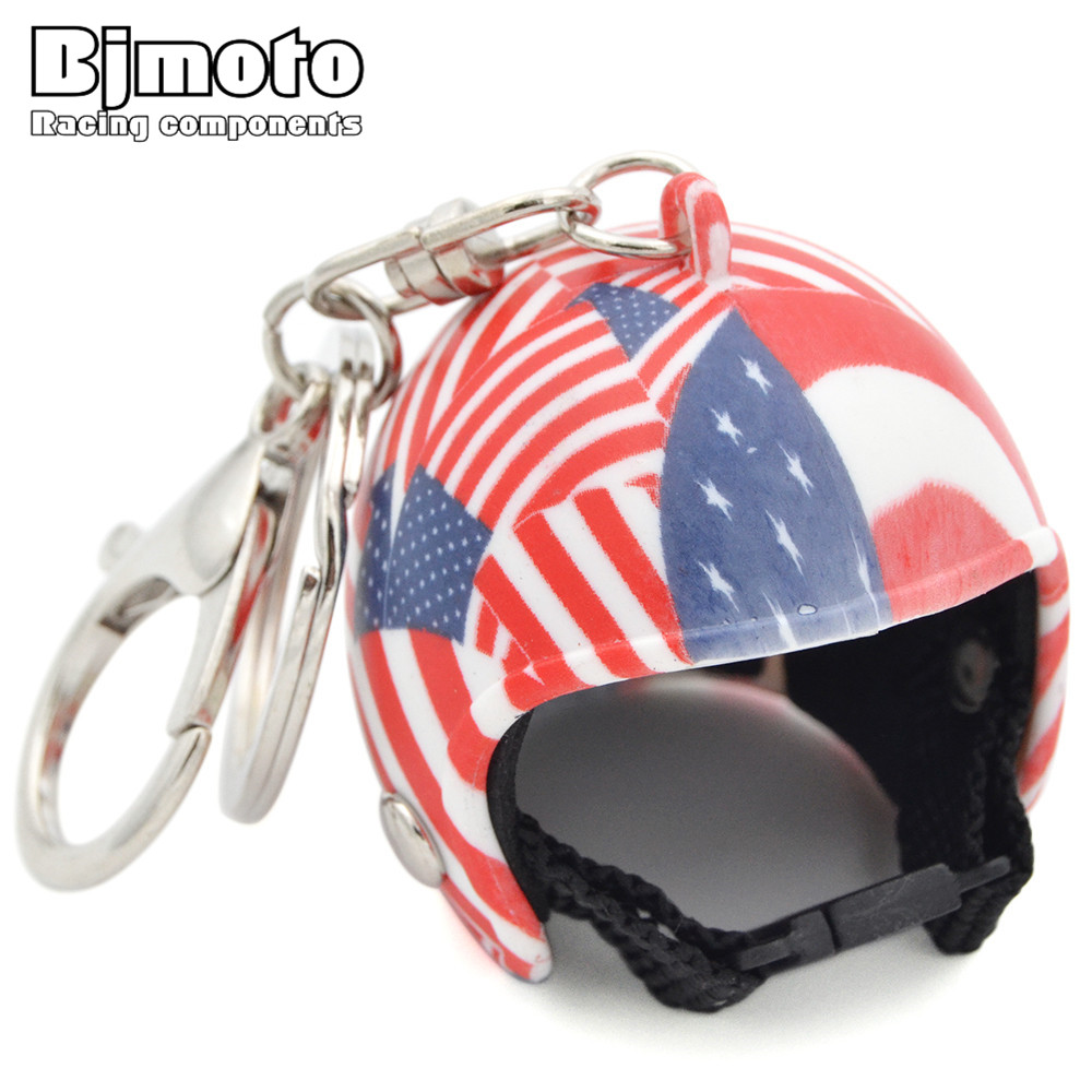 Flag Mini Helmet Key Chain Fashion Motorcycle Cap Helmet Small Tintin Toy Head With Pieces Motocross Keyring