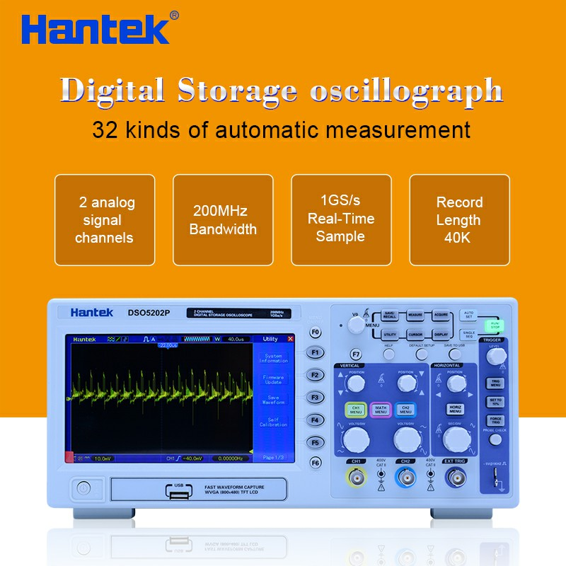Hantek DSO5202P Digital Oscilloscope 200MHz 2 Channels 1GSa/s 7
