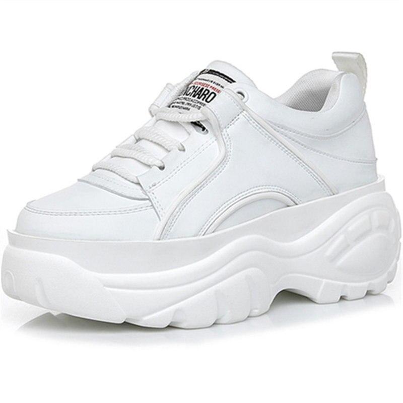 женские кроссовки женщины белый, kjztsf кожа Женские кроссовки на платформе, вулканизация обувь коренастый кроссовки, женская корзина Femme обувь Сникеры