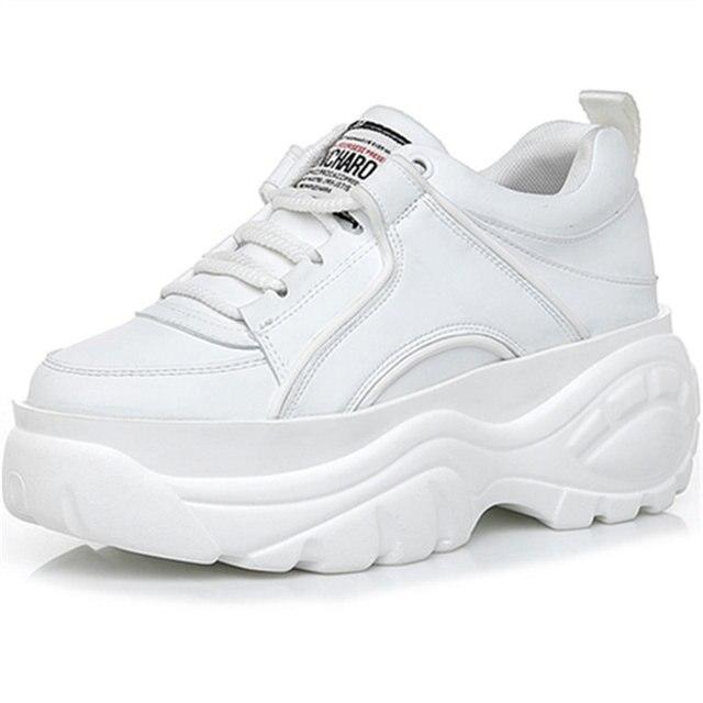 Donne delle scarpe da tennis delle donne bianco, KJZTSF Femminile di cuoio Scarpe Da Tennis Della Piattaforma, Vulcanize scarpe Chunky Scarpe Da Ginnastica, donne Cestino Femme scarpe