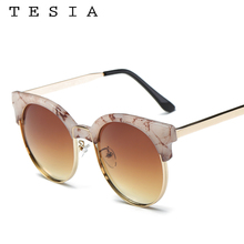 2017 Gafas de sol mujeres famosa marca Gafas de sol diseño de madera y mármol  patrón señoras gafas metal Marcos anti UV400 t1540 0a94b83f2e