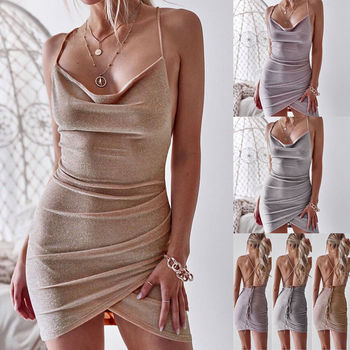 New Women Sequined Bodycon Sparkly Backless Bandage Sleeveless Evening Party Club Mini Dress Sundress 1