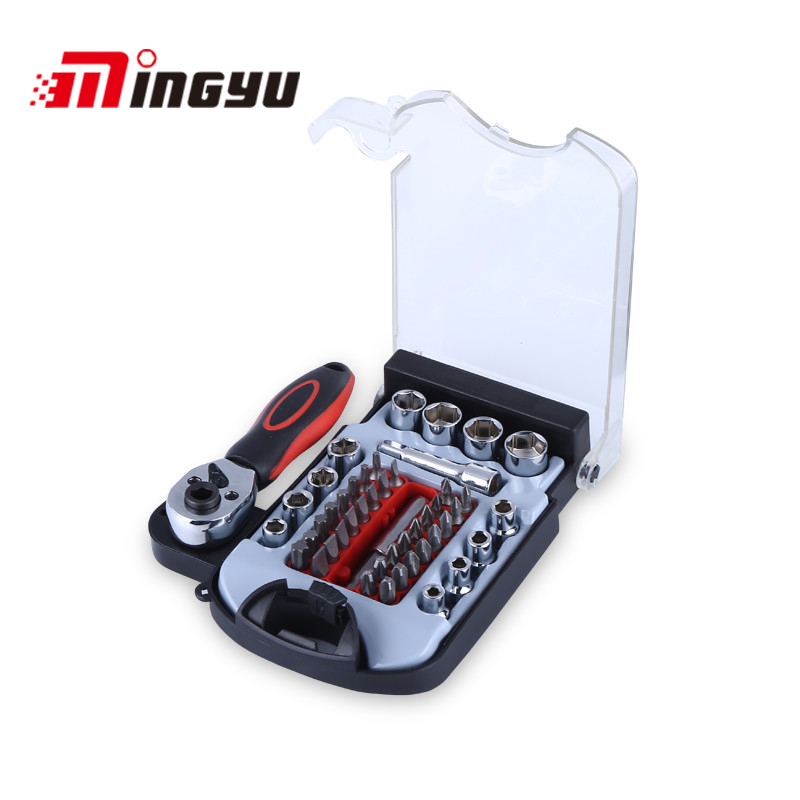48pcs Socket Set Car Repair Screwdriver Hand Tools Torque Ratchet Wrench With A Set Of Bits Key Universal Joint Tools Kit