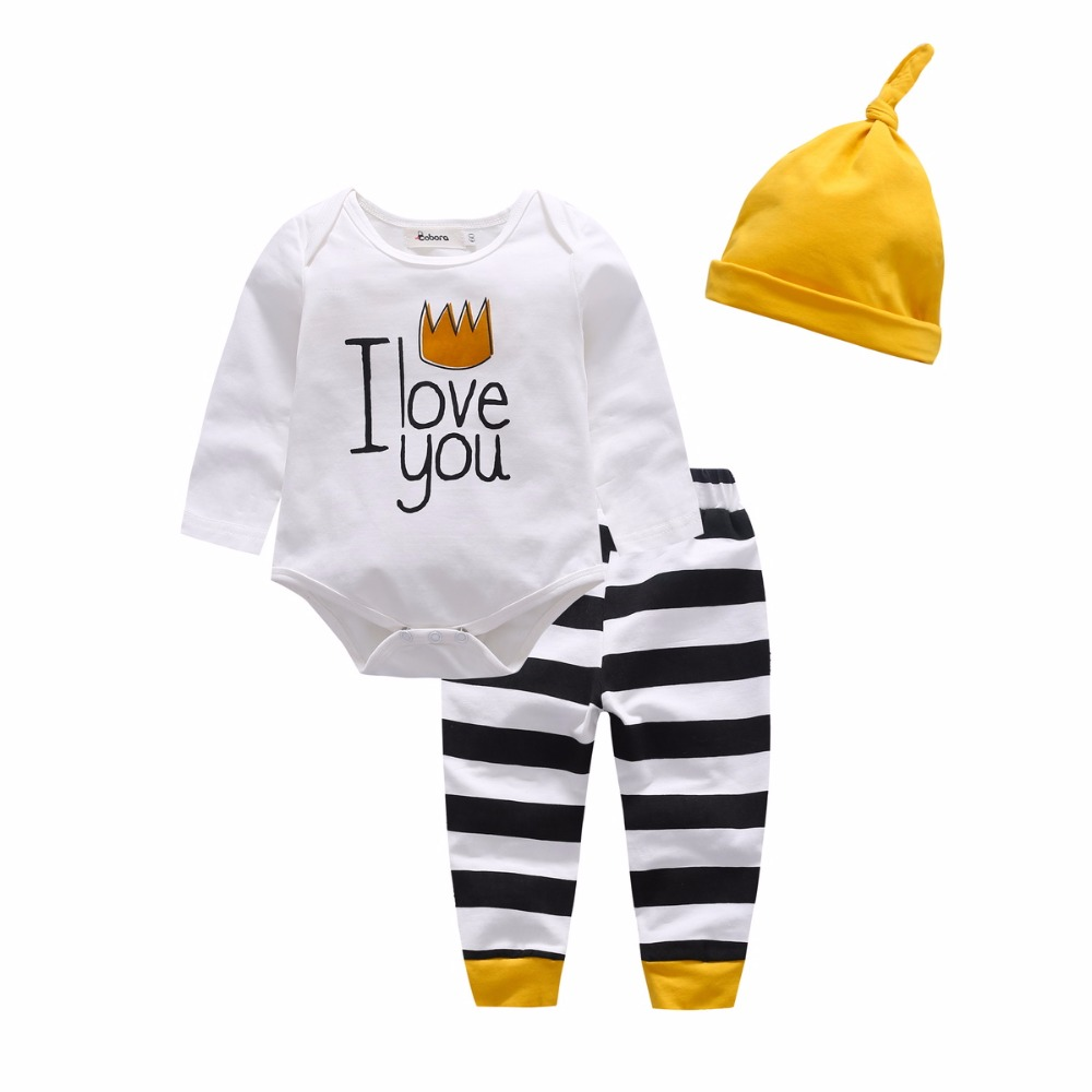 Baby Boy Three-Piece Suit Black Yellow Color Print Flower Trousers Hat Long Sleeve Clothes