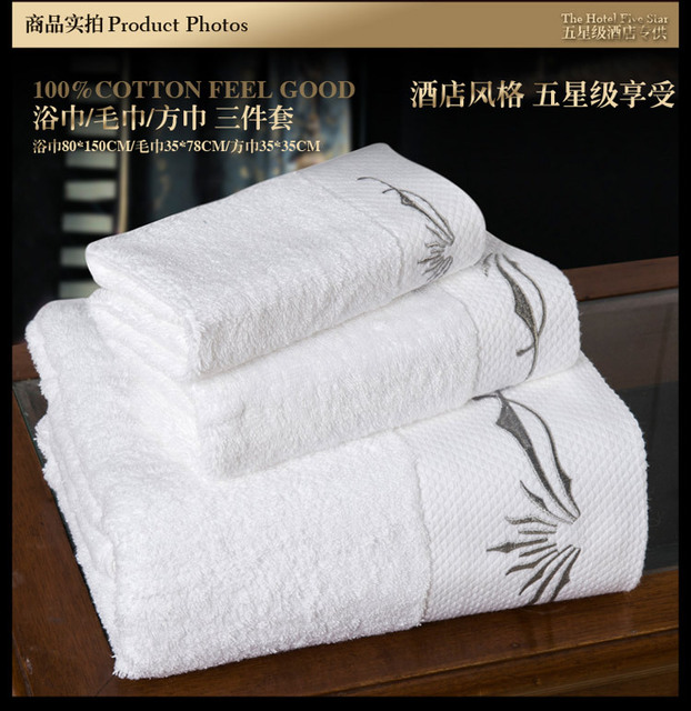Wholesale of 3pcs hotel towel set white embroidery towels/ thick Bath towel  matched face towel