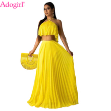 Adogirl Solid Yellow Chiffon Summer Pleated Dress Halter Crop Top Maxi Party Dresses 2019 New Beach Casual Vestidos