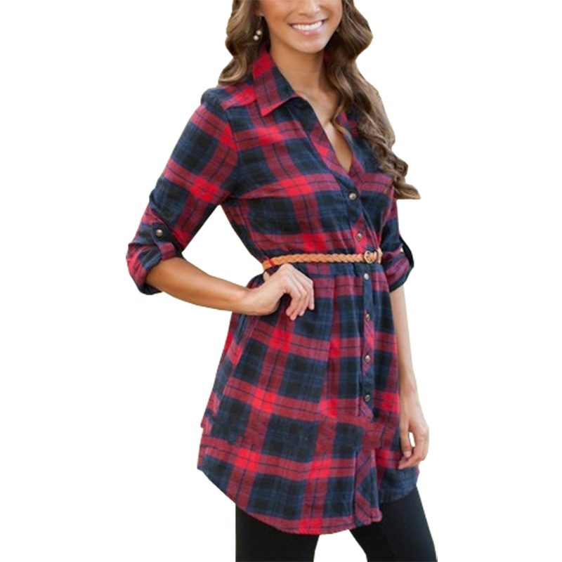 Women Blouses Hit Color New European American Blouse Plaid Long Shirt Blusa With Belt Womens Clothing Vestidos Lbd397 To Suit The PeopleS Convenience Women's Clothing