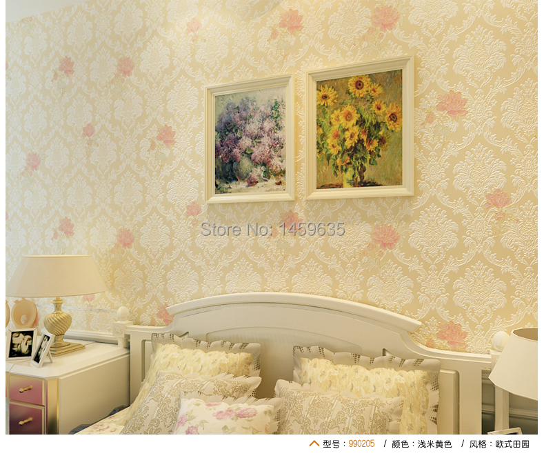 Fashion rustic non-woven wallpaper bedroom wallpaper romantic pink living room background wall