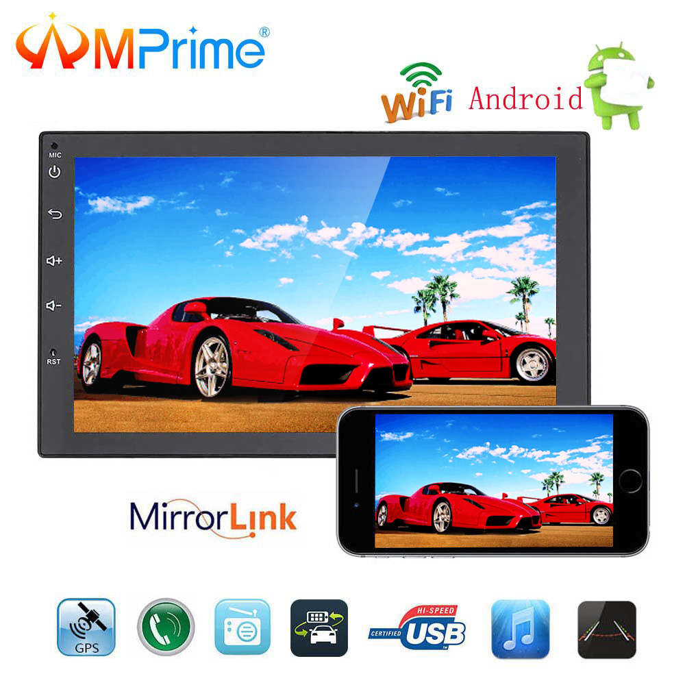 "AMPrime 2 Din Car Radio Universal 7"" Android Touch Screen Car GPS Navigation 2din Audio MP5 Player Mirror Link with Rear camera"