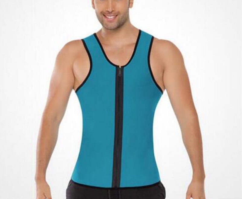 Mens Sweat Neoprene Body Shapers Zipper Vest Tops Slimming Fitness Weight Loss Shapewears Plus Size S-3XL