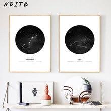 Póster de constelación para pared de guardería, impresiones de carteles de astrología, cuadros geométricos minimalistas, cuadros de decoración nórdica para niños