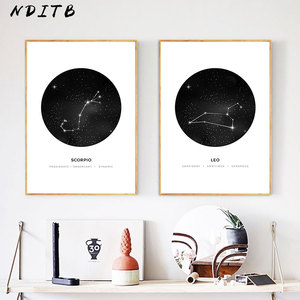 Constellation Nursery Wall Art Canvas Poster Prints Astrology Sign Minimalist Geometric Painting Nordic Kids Decoration Pictures(China)
