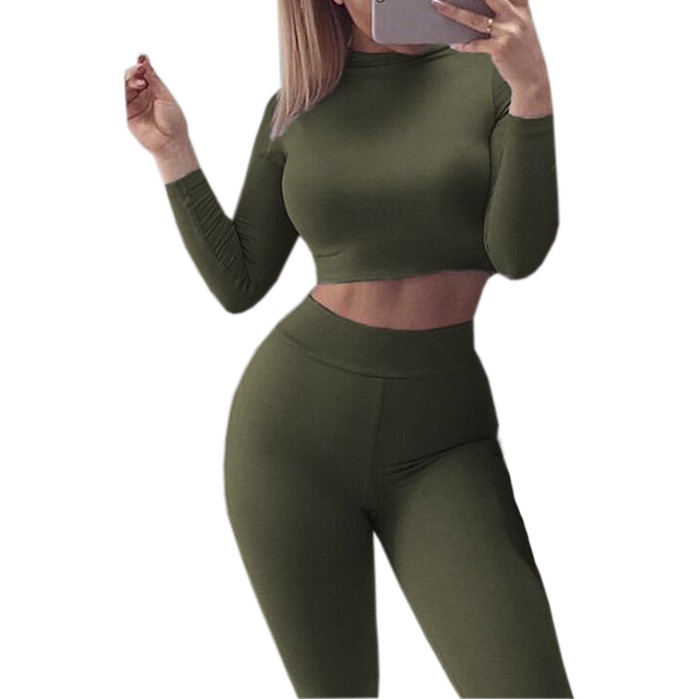 Sexy Skinny Pants Crop Top Women Sets Sportsuits Bodycon Outfits Set Tops Sexy Tracksuits