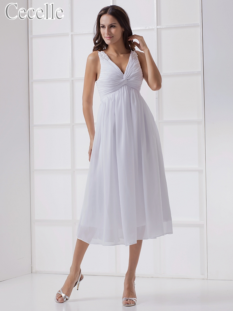 informal wedding dresses tea length 2017new informal white tea length chiffon maternity 5152