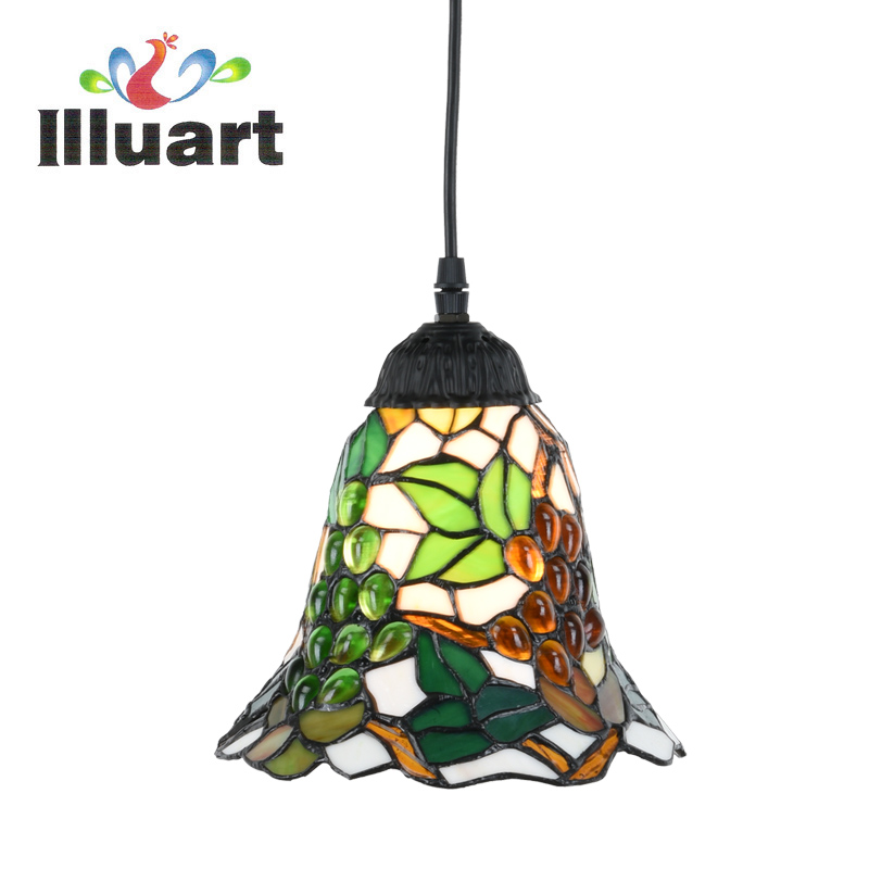 ФОТО Tiffany Pendant Lamp European Retro Grape Stained Glass light living Room Fixtures Creative Pendant lights Led Vintage Bar lamp