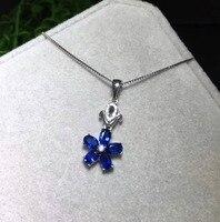 Натуральный Синий Сапфир Подвеска 925 Серебро Природный камень кулон Цепочки и ожерелья Модные Элегантные цветы Женщины партия ювелирных из