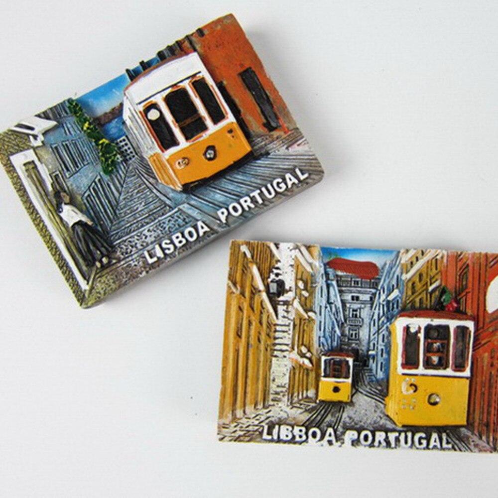 Portugal Lisbon Tourism Souvenirs Fridge Magnets Lovely Tramcar Resin Refrigerator Magnetic
