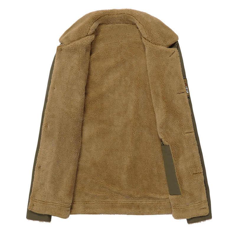 QIQICHEN メンズ冬のミリタリーボンバージャケットプラスサイズ M-6XL 厚手のフリース軍の戦術的なジャケット男性毛皮の襟やつ
