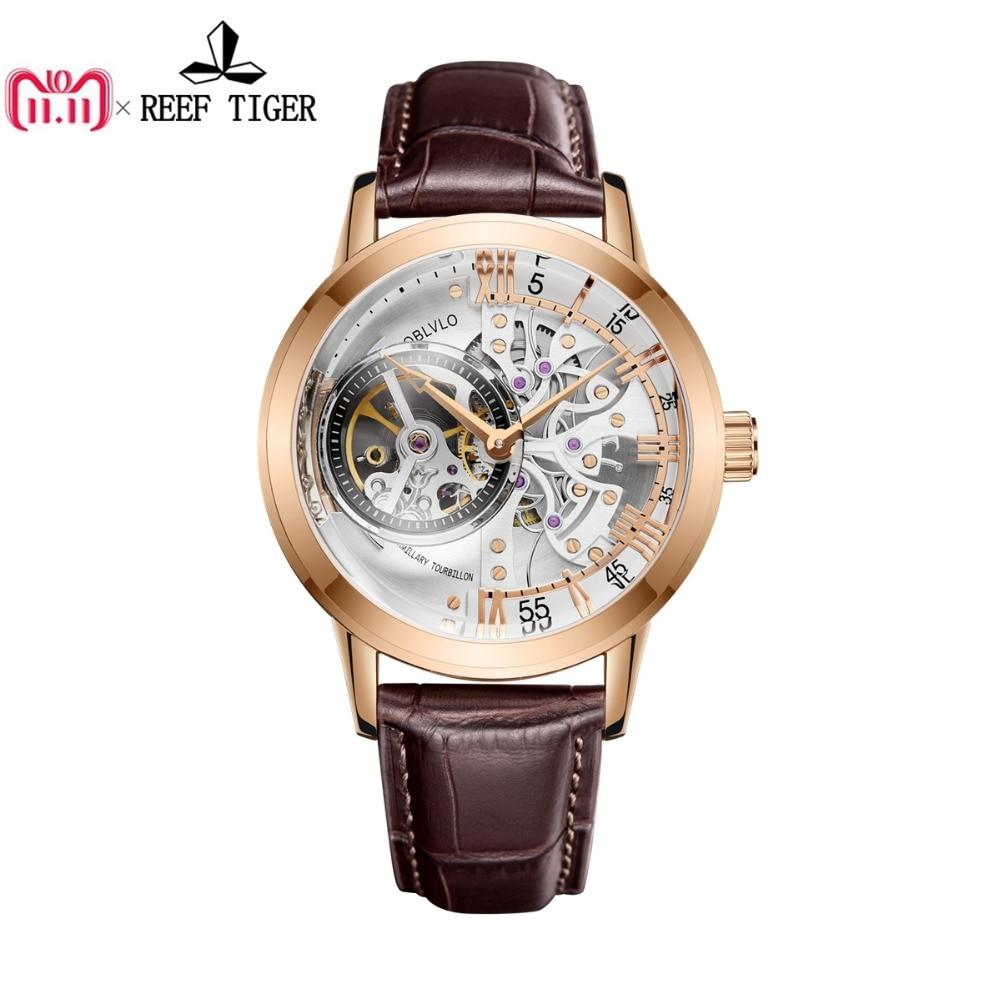 OBLVLO Роскошные Повседневное часы из розового золота тон ремень из натуральной кожи Скелет автоматические часы для Для мужчин VM 1
