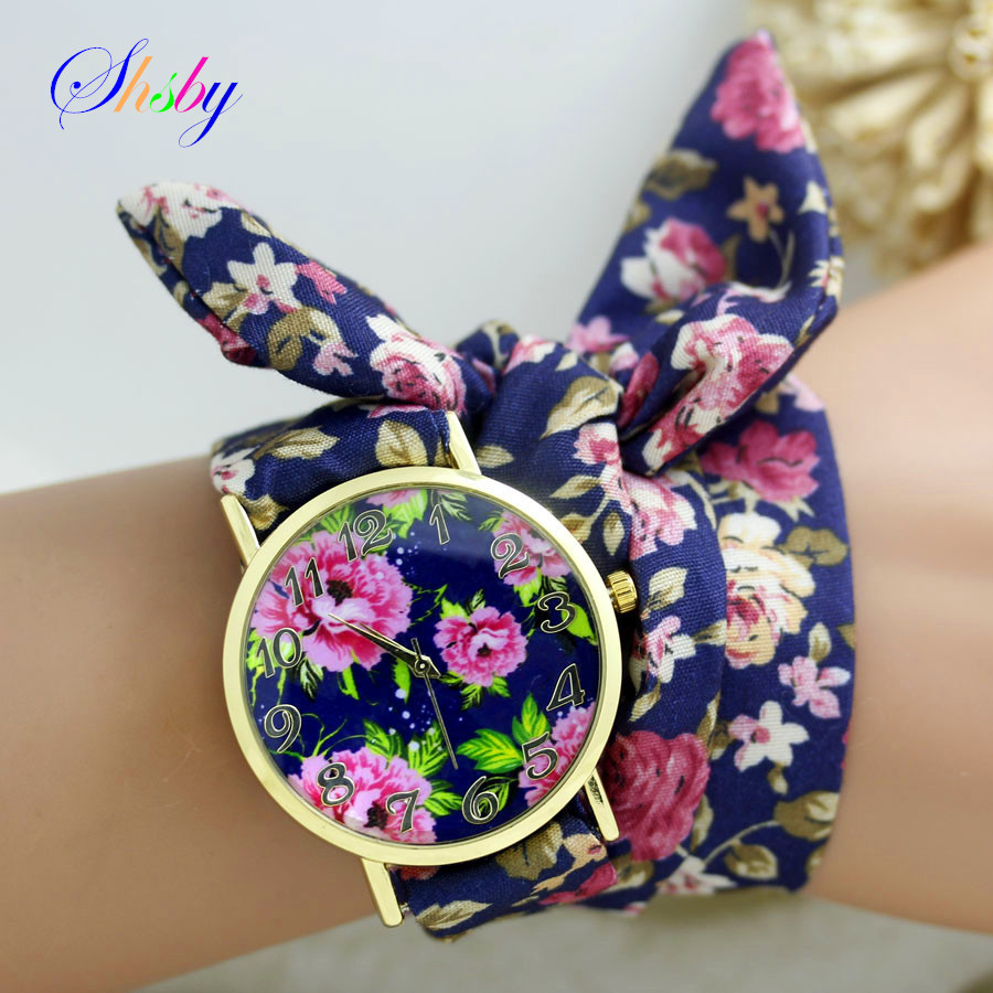 2015 New design Ladies flower cloth wrist watch gold fashion women dress watches high quality fabric watch sweet girls watch