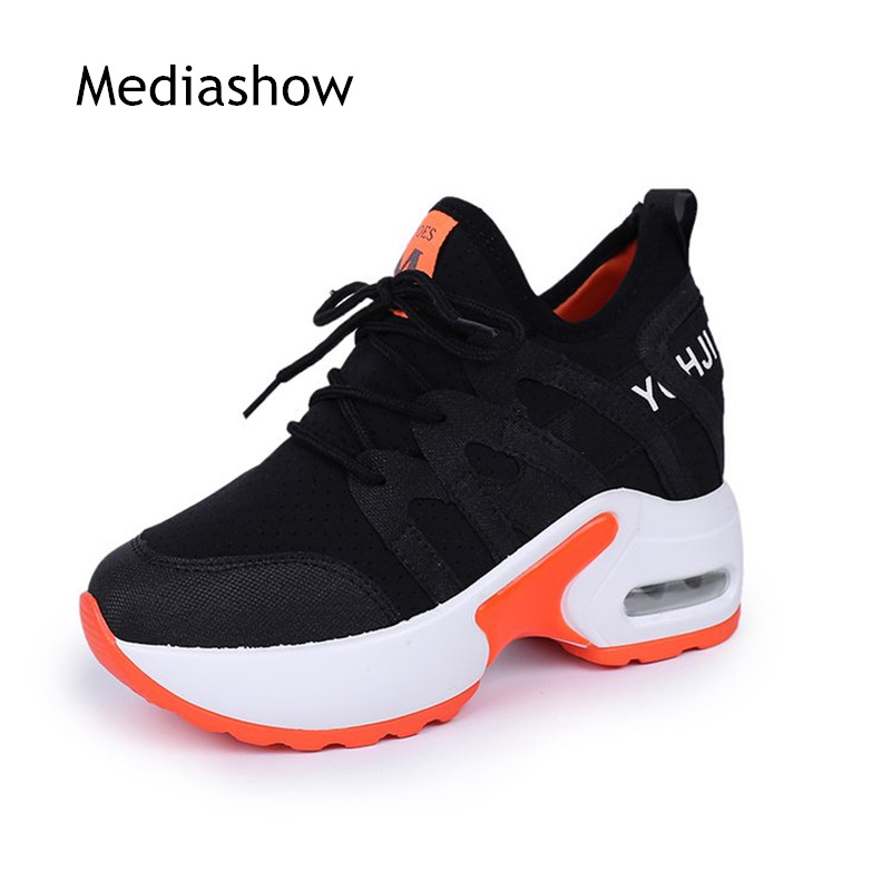 2018 summer women's fashion casual shoes platform shoes Mesh breathable women's platform shoes women's wedge white black shoes 3