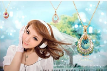 N087 The new angel crystal teardrop pendant necklace gift European and American hollow droplets free shipping(China)