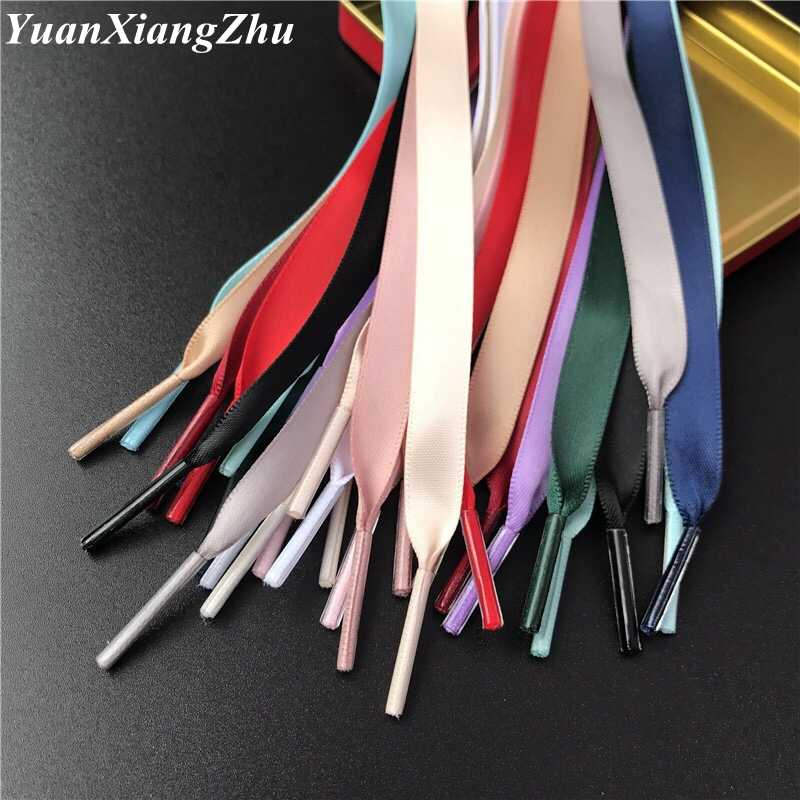 1Pair Satin Silk Ribbon Shoelaces  1 Cm Width Shoelace 80/100/120/150 CM Length Sneaker Sport Shoes Lace Drop Shipping 15 Color