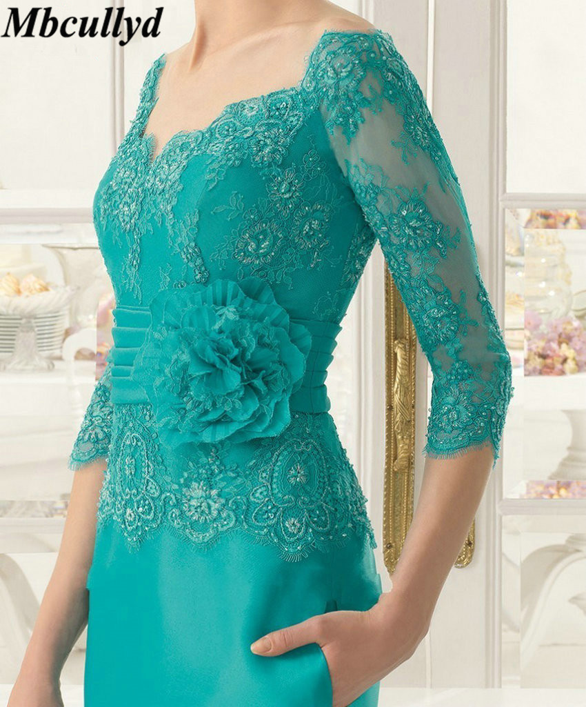 Mbcullyd Emerald Appliques Mother of the Bride Dress Lace Three Quarters Sleeves Floor Length Long Formal Evening Party Gowns