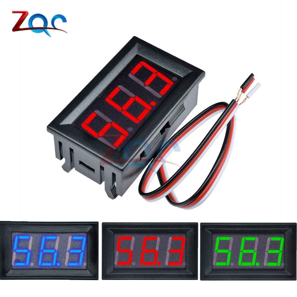 Mini LED Digital DC 0-100V Voltmeter Gauge Voltage Volt Fahrzeuge Panel Meter Red/Blue/Green 12V 24V 48V For Car Etc.