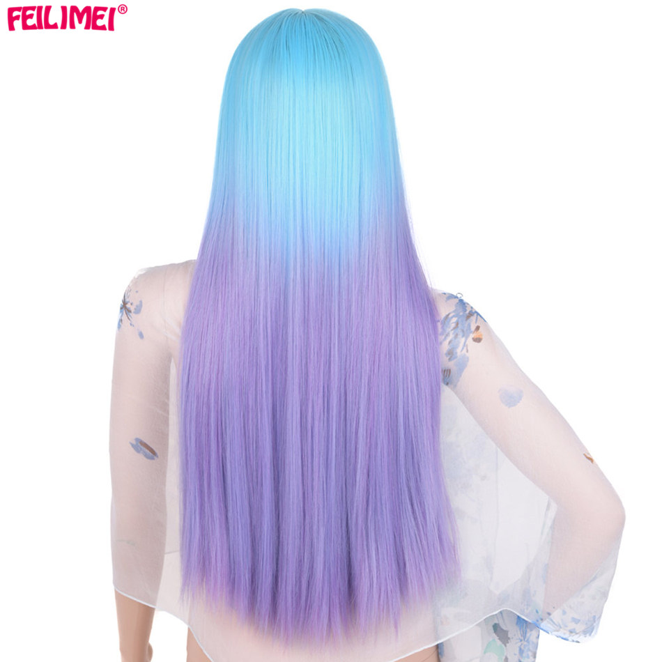Feilimei Middle Part Ombre Long Straight Wig Synthetic 60cm 280g Full Head Black Gray Blue Purple Brown Coloured Cosplay Wigs