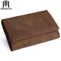 MISFITS Vintage 100 Genuine Leather Key Wallet Coin Purse Unisex Solid Key Men Key Holder Housekeeper