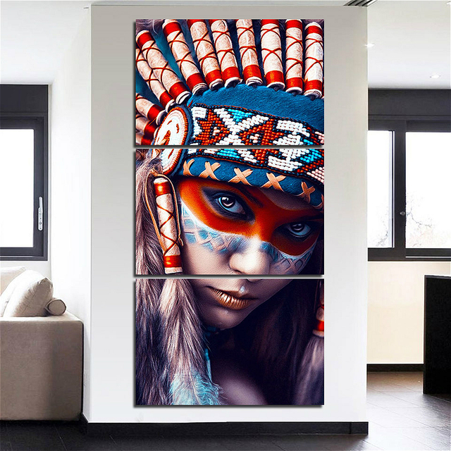 US $14 28 16% OFF|Native American Indian Feathered Girl Wall Art Modern  Indian Girl Canvas Painting for Hallway Living Room Bedroom Home Decor -in