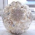 Branco marfim Nupcial Do Casamento Bouquet de mariage Pérolas Da Dama de honra Bouquets De Casamento Flor de Cristal Artificial buque de noiva 2017