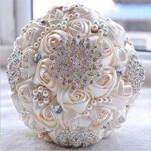 Branco marfim Nupcial Do Casamento Bouquet de mariage Pérolas Da Dama de honra Bouquets De Casamento Flor de Cristal Artificial buque de noiva 2017(China (Mainland))