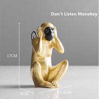 American Country Style Resin Monkey Statue&Sculpture Home Decoration Accessories Modern Creative Monkey Statues For Decoration