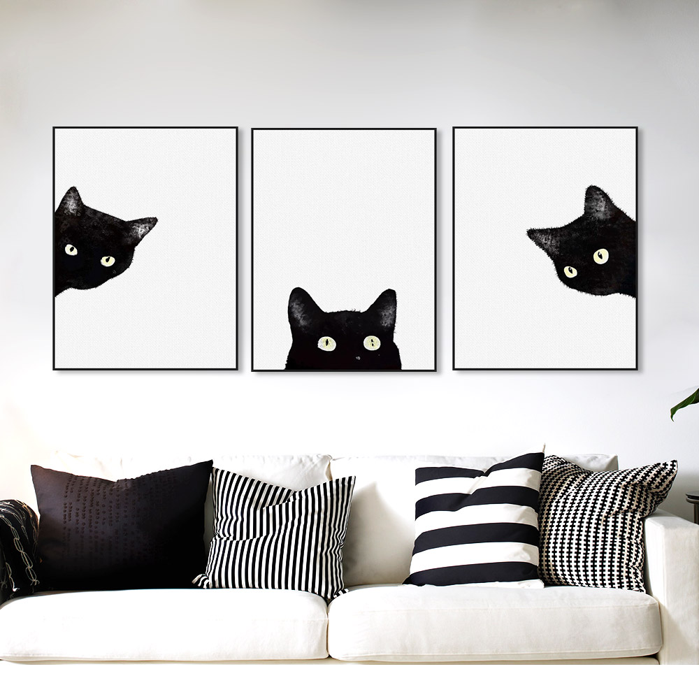 Watercolor-Minimalist-Kawaii-Animals-Black-Cats-Head-Canvas-A4-Art-Print-Poster-Nordic-Wall-Picture-Home